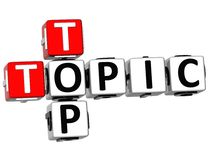 3D Top Topic Crossword. On white backgound Stock Photography