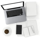 3d top view of an office desk with laptop and documents Royalty Free Stock Photography