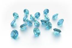 3D topazio - 18 gemme blu Immagine Stock