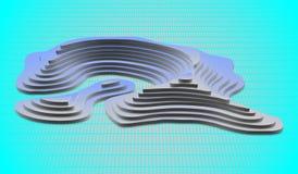 3d Topological mapa góry i wzgórza Kartografia i topologia również zwrócić corel ilustracji wektora Obraz Stock