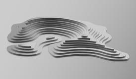 3d Topologische kaart van bergen en heuvels Cartografie en topologie Vector illustratie Stock Afbeelding
