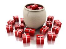 3d torba pełno czerwoni prezentów pudełka Bożenarodzeniowy pojęcie Zdjęcie Royalty Free