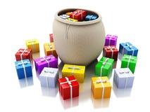 3d torba pełno kolorowi prezentów pudełka Bożenarodzeniowy pojęcie Fotografia Royalty Free
