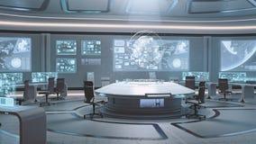 3D tornou interior vazio, moderno, futurista do centro de comando Fotos de Stock Royalty Free