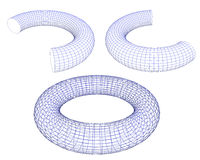 3d torus. Shapes  wireframe ready for editing and simple for every design  isolated on white background Royalty Free Stock Photo