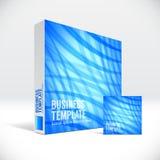 3D tożsamości pudełko z abstrakcjonistyczną niebieskiej linii pokrywą Zdjęcie Stock