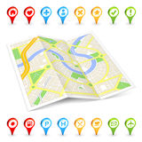 3D tourist folded Citymap Royalty Free Stock Image