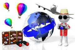 3D tourist, travel concept. 3D tourist with camera, suitcase, Earth, hot air balloons - great as a motive for topics like traveling, tourism etc Royalty Free Stock Photography