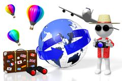 3D tourist, travel concept. 3D tourist with camera, suitcase, Earth, hot air balloons - great as a motive for topics like traveling, tourism etc Stock Photo