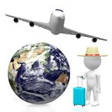 3D tourist, travel concept. 3D Earth (Asia, Australia side), passenger jet plane, tourist with a luggage - great for topics like plane traveling, flight etc Stock Image