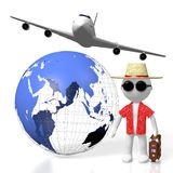 3D tourist, travel concept. 3D Earth Asia, Australia side, tourist, passenger plane - great for topics like transportation, traveling, flight etc Royalty Free Stock Photography