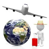3D tourist, travel concept. 3D Earth (Europe, Africa and Middle East side), passenger jet plane, tourist with a luggage - great for topics like plane traveling Stock Image