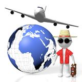 3D tourist, travel concept. 3D Earth Europe, Africa, Middle East side, tourist, passenger plane - great for topics like transportation, traveling, flight etc Royalty Free Stock Photo