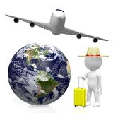 3D tourist, travel concept. 3D Earth (North, Central and South America side), passenger jet plane, tourist with a luggage - great for topics like plane traveling Stock Photography