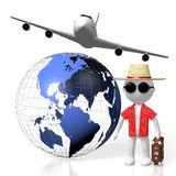3D tourist, travel concept. 3D Earth North, Central, South America side, tourist, passenger plane - great for topics like transportation, traveling, flight etc Stock Photos