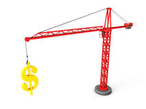 Tower crane lifting golden dollar symbol Stock Photography