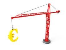Tower crane lifting golden euro symbol. 3d tower crane lifting golden euro symbol Stock Photo