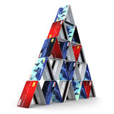 3d Tower of credit cards Stock Photography