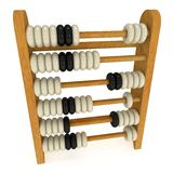 3d toy abacus. 3d wooden black and white toy abacus. 3d render isolated on white. Education concept Stock Image