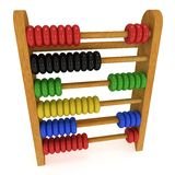 3d toy abacus. 3d wooden colorful toy abacus. 3d render isolated on white. Education concept Stock Image