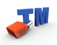 3d trademark protection concept. 3d illustration of copyright trademark tm attached to padlock Stock Photo