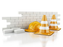 3d Traffic cones, Helmet and brick wall. Stock Photo