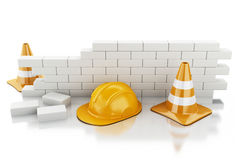 3d Traffic cones, Helmet and brick wall. Royalty Free Stock Photos