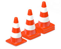 3d traffic cones isolated over white Stock Photo