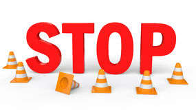 3d traffic cones and Stop text. 3d render of construction cones and Stop text Royalty Free Stock Images