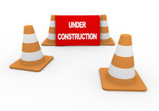 3d traffic cones and under construction Stock Photos