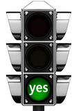 3d Traffic light with inscription `yes` Royalty Free Stock Image