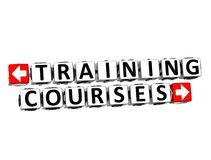 3D  Training Courses Button Click Here Block Text. 3D Training Courses Button Click Here Block Text over white background Royalty Free Stock Image