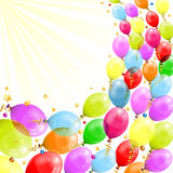 Birthday Frame. 3D Transparent Birthday Balloons with Streamer, and confetti, easy change color, vector Royalty Free Stock Images