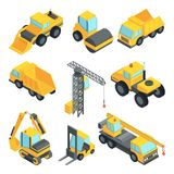 3d transport for construction industry. Vector isometric cars isolate. Industrial equipment machine transportation and construction transport illustration Royalty Free Stock Images