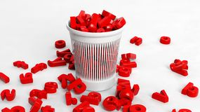 3D trash bin full of red letters Royalty Free Stock Photography