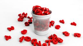 3D trash bin full of red numbers Royalty Free Stock Photo