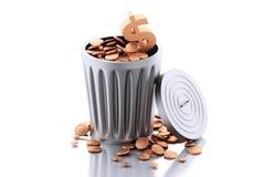 3d Trash bin with gold coins. Stock Photos
