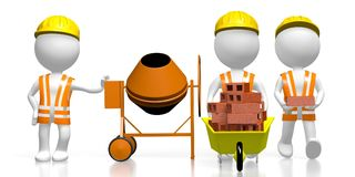 3D travailleurs, concept de chantier de construction Images stock