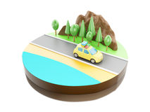 3D Travel in car on the road. Royalty Free Stock Image
