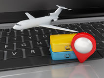3d Travel suitcase and airplane on computer keyboard. 3d renderer illustration. Travel suitcase and airplane on computer keyboard. Travel concept Royalty Free Stock Photography