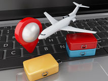 3d Travel suitcase and airplane on computer keyboard. 3d renderer illustration. Travel suitcase and airplane on computer keyboard. Online booking flight or Stock Photos