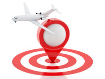 3d Travel suitcase, airplane and map pointer in red target. Stock Image