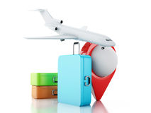 3d Travel suitcase, airplane and map pointer. Royalty Free Stock Photos