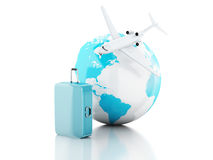 3d travel suitcase, airplane and world globe. travel concept. 3d renderer illustration.travel suitcase, airplane and world globe. travel concept on white Royalty Free Stock Photography