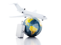 3d travel suitcase, airplane and world globe. travel concept. 3d renderer illustration.travel suitcase, airplane and world globe. travel concept on white Stock Photos