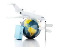 3d travel suitcase, airplane and world globe. travel concept. 3d renderer illustration.travel suitcase, airplane and world globe. travel concept on white Stock Images