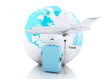 3d travel suitcase, airplane and world globe. travel concept. 3d renderer illustration.travel suitcase, airplane and world globe. travel concept on white Stock Photography