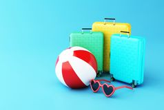 3d Travel suitcase with ball and sunglasses. Summer. 3d illustration. Travel suitcase with Beach ball and sunglasses. Summer travel concept Stock Photos
