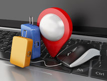 3d Travel suitcase and computer mouse on computer keyboard. 3d renderer illustration. Travel suitcase, map pointer and computer mouse on computer keyboard Royalty Free Stock Photos
