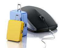 3d Travel suitcase and computer mouse. Travel concept. 3d illustration. Travel suitcase and computer mouse. Online booking or travel concept.  white background Stock Photos